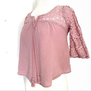 Super cute woman's pink lace angel sleeve top